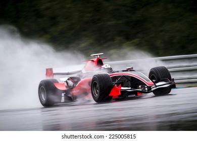 BRNO, CZECH REPUBLIC - SEPTEMBER 13, 2014: Marc Faggionato behind the wheel of 2008 Dallara GP2 car during European BOSS GP race - part of Masaryk Racing Days.