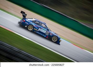 BRNO, CZECH REPUBLIC - SEPTEMBER 13, 2014: Daniel Skalicky in BMW M3 GTR during Masaryk Racing Days in Brno.