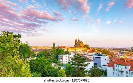 Brno, Czech republic: Sunset over the St Peter and Paul cathedral (Petrov in local speak). Historical and ancient religion building in center of Brno city, South Moravia region.