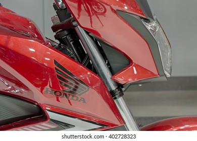 BRNO, CZECH REPUBLIC-MARCH 4,2016: Side view of motorcycle Honda CB 125F at  International Fair for Motorcycles on March 4,2016 in Brno in Czech Republic