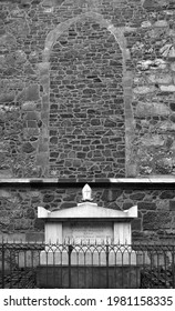 Brno, Czechia, 12 Oct. 2017: Tomb of bishop Wenceslao Urbano Equiti de Stuffler outside the Cathedral of Saints Peter and Paul on  Petrov hill in the centre of Brno, in black and white.
