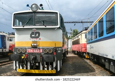 BRNO, CZECHIA - JUNE 21, 2014: Diesel locomotive class 754 from Czech Railways on standby before departure. CD, or Ceske Drahy is main railway carrier of Czech Republic in cargo & passenger.