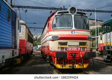 BRNO, CZECHIA - JUNE 21, 2014: Electric locomotive class 230, from CD Cargo Czech Railways on standby before departure. CD, or Ceske Drahy is main railway carrier of Czech Republic in freight.
