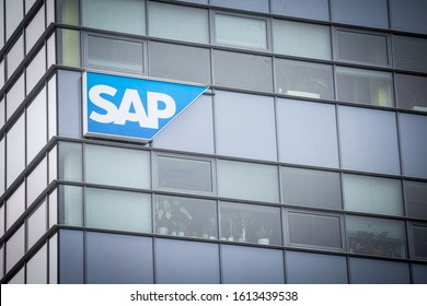 BRNO, CZECHIA - NOVEMBER 5, 2019: SAP logo in front of their office for Brno. SAP is a German enterprise software development specialized in CRM and ERP solutions for corporate clients.