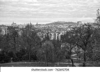 Brno skyline in snow; panorama of Brno, Czech Republic, as can be seen from Villa Tugendhat.