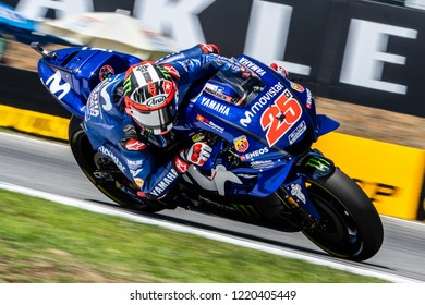 Brno/Czech Republic 08/03/2018  Maverick Vinales (SPA) on his Yamaha M1 during free practice ahead of the 2018 Czech Republic Grand Prix at Brno.