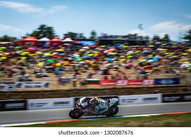 Brno/Czech Republic - 08/04/2018 - #17 Karel Abraham (CZE) on his Ducati Desmosedici in front of his home crowd at the Brno race track ahead of the 2018 Czech Grand Prix