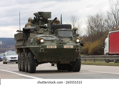 BRNO,CZECH REPUBLIC-MARCH 30,2015: Dragoon Ride -US army convoy drives on March 30,2015  through Brno , returns from the Baltic countries to a German base, enters the territory of the Czech Republic