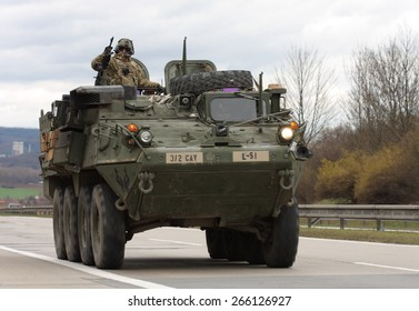 BRNO,CZECH REPUBLIC-MARCH 30,2015: Dragoon Ride -US army convoy drives on March 30,2015  through Brno , returns from the Baltic countries to a German base, enters the territory of the Czech Republic.