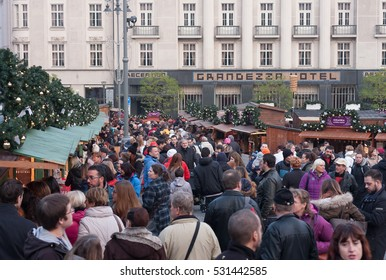 BRNO,CZECH REPUBLIC-NOVEMBER 26,2016: People browsing market stalls at Christmas market on the Cabbage Market on November 26, 2016 Brno, Czech Republic