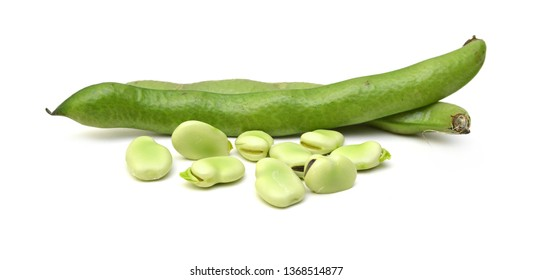 Broad beans on white background