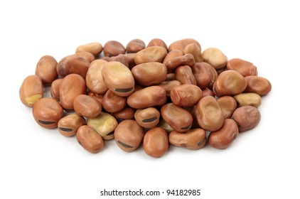 Broad or fava beans isolated on white background