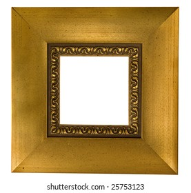 broad golden square picture frame isolated on white