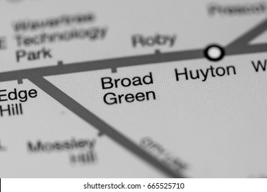 Broad Green Station. Liverpool Metro map.