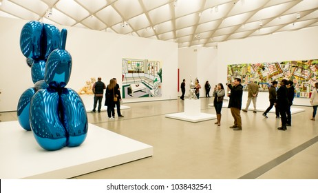 The Broad Museum in Los Angeles California is a free museum featuring modern art. March of 2018 during a busy weekend.