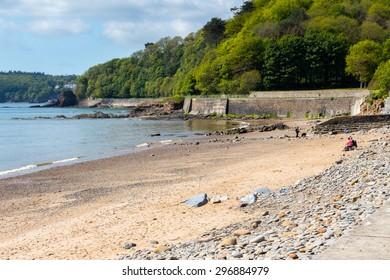 The broad sandy beach at Wisemans Bridge on the Pembrokeshire Coast Wales UK Europe