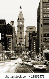 Broad street and Philadelphia City Hall  in Center City