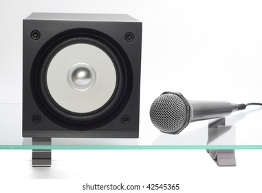 broadband speaker with microphone on the glass table