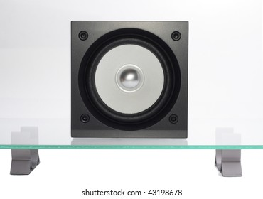 broadband speaker on the glass table