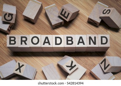 Broadband Word Written In Wooden Cube