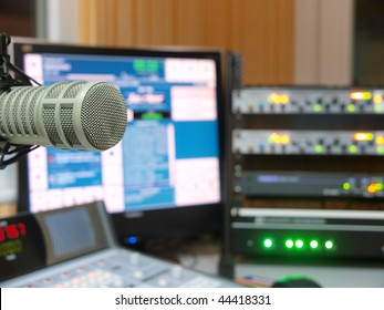 Broadcast radio station studio