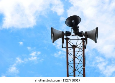 broadcasting and loudspeaker tower megaphone for announcing in community small-scale-image