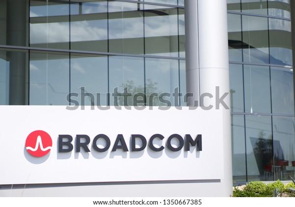 Broadcom Logo Front Office Building Blue Stock Photo (Edit