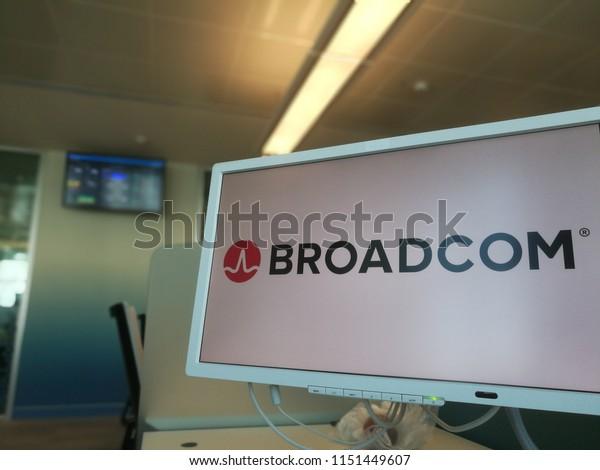 Broadcom Logo On Pc Monitor Coworking Stock Photo (Edit Now