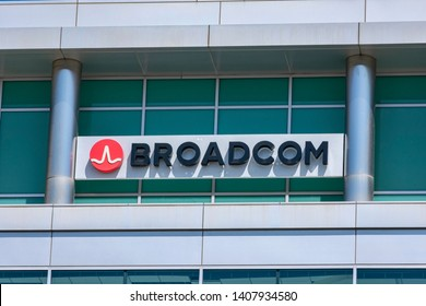 Broadcom logo and sign on semiconductor manufacturing company office in Silicon Valley - Sunnyvale, California, USA - May 25, 2019