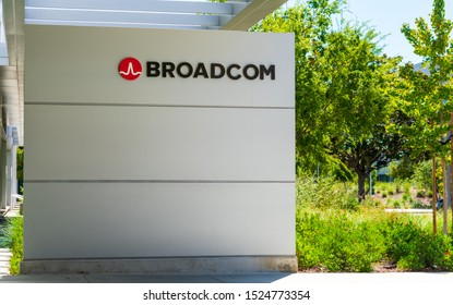 Broadcom sign and logo near semiconductor manufacturing company office in Silicon Valley - Milpitas, CA, USA - October 2019