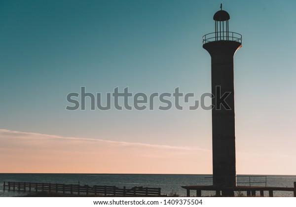 Broadwater Lighthouse Sunset Biloxi Ms Stock Photo Edit Now