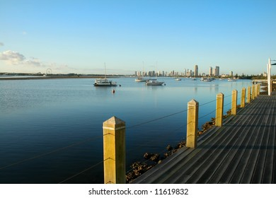 The Broadwater on the Gold Coast Australia at sunrise seen from Labrador looking toward Main Beach.