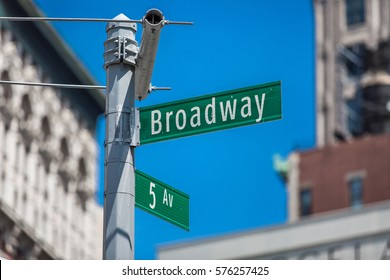 Broadway and 5th Ave sign
