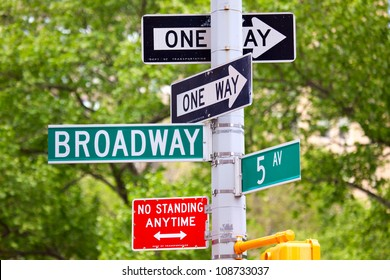 Broadway and 5th avenue Street Signs, Manhattan, New York City