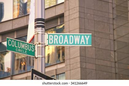 Broadway and Columbus Circle road sign, New York USA