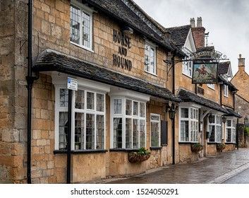 BROADWAY, ENGLAND - MAY, 27 2018: The Horse & Hound public house is a traditional country inn dating from 17th century. Pub with food and B&B guest rooms on Broadway High Street, Broadway - Cotswolds