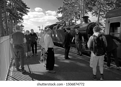 Broadway, Gloucestershire, UK, September 17th, 2019, Warwickshire Steam Railway, GWR 42 XX class no 4270 waiting to depart South to Cheltenham Race Course with passengers checking out the steam train.