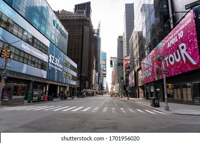 Broadway, Manhattan, New York - April 12, 2020: Easter Sunday, empty Manhattan during COVID-19 quarantine, Corona Virus outbreak in USA
