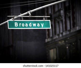 Broadway sign with added vignette in Times Square New York