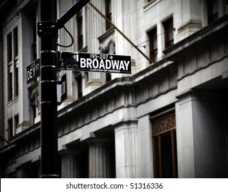 Broadway sign on Canyon of Heroes in new York in high contrast color