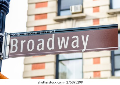 Broadway Street Sign with blurred Background
