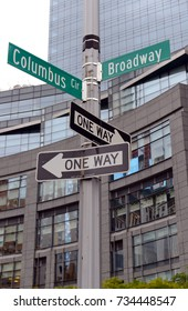 Broadway Street sign at Columbus Circle in Manhattan New York City, a place name now under controversy due to naming of a historical figure in American history