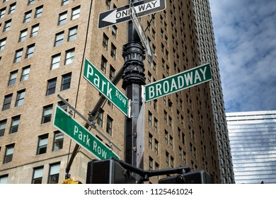 Broadway street sign in the Financial District of Lower Manhattan in New York City