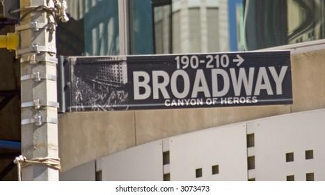 Broadway street sign in lower Manhattan, New York City.