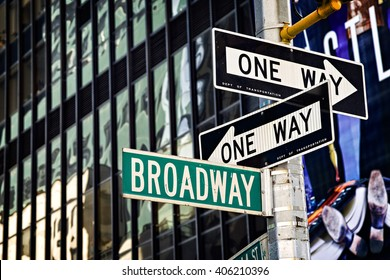 Broadway street sign in Manhattan, New York City.