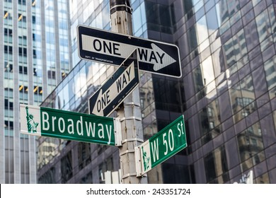 Broadway street sign near Time square in New York City