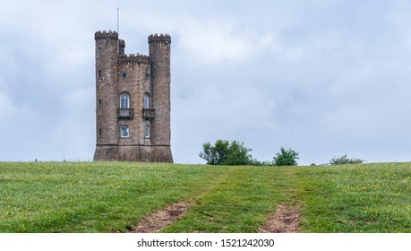 BROADWAY TOWER, ENGLAND - MAY, 27 2018: Broadway Tower is a folly on Broadway Hill, near the large village of Broadway, in the English county of Worcestershire, Cotswolds, UK – (Beacon Tower)