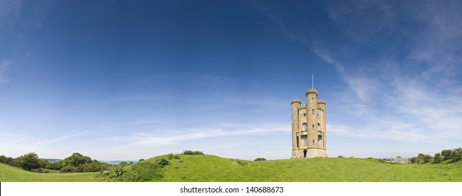 Broadway Tower Gothic folly built in 1799 overlooking idyllic rural views in the Cotswolds. Perspective corrected stitched panorama, detailed when viewed large.