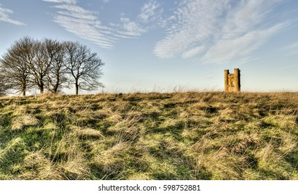 broadway tower landmark in the english countryside