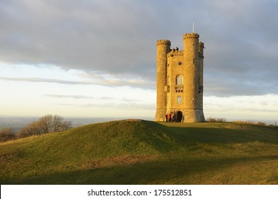Broadway Tower on Broadway Hill is a folly in the heart of the Cotswolds in Worcestershire.    Designed by James Wyatt and built in 1799 for Lady Coventry.  Late afternoon winter sun.